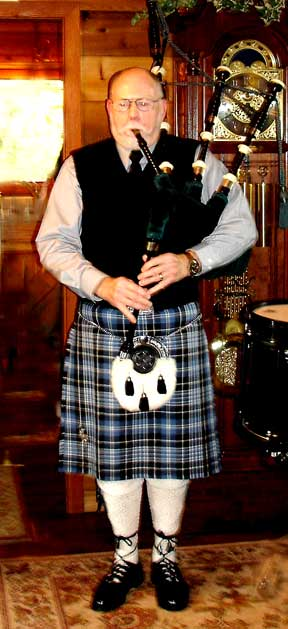 Bill Shelton playing the Great Highland Bagpipes